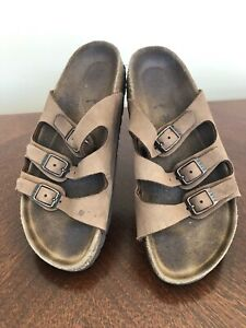 WOMEN'S BIRKENSTOCK Tan Sandals Shoes Slides Buckle Florida 36 US Size 5-5 1/2
