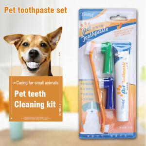 4Pcs/Set Pet Dog Cat Toothbrush Toothpaste Backup Brush Kit For Puppy Teeth Care