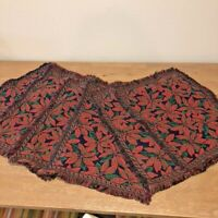 Christmas Poinsettias Tapestry Placemats  Set of 6  Red Green on Navy Fringed
