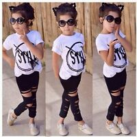 Toddler Kids Baby Girls Outfit Clothes T-shirt Tops+Hole Leggings Pants 2PCS Set