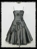 dress190 GREY 40/50s FLOCK TATTOO ROCKABILLY COCKTAIL PARTY PROM DRESS UK 8-26