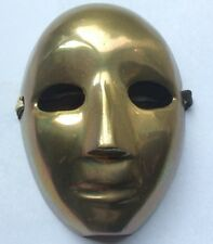 Vintage Brass Metal Small Hanging Face Mask