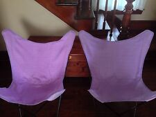 SET OF 2 ROOM ESSENTIALS PORTABLE BUTTERFLY CHAIR PURPLE PLAID FABRIC BAG DORM