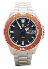 Casio EFM100D-1A4V Mens Edifice Stainless Steel Bracelet and Orange Accent Watch