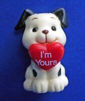 Russ MINIATURE FIGURINE Valentines Vintage DOG HEART B&W MINI Holiday