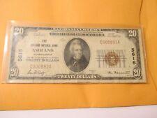 1929 $20 THE ASHLAND NATIONAL BANK ASHLAND,PENNSYLVANIA