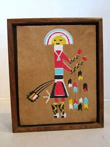 Native American Art Painting Suede Framed. Talking God Sprit Fox, New Mexico, NM