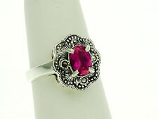 Sterling Silver Ring with Oval Lab Created Ruby and Marcasite Stones Size - 6.75