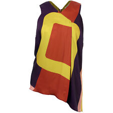 Rachel Roy 2x Multi Color Block Asymmetric Hem Sleeveless Shirt NWT FREE SHIP