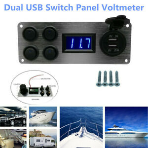 12V Dual USB Rocker Switch Panel Voltmeter Car Phone Charger Socket Boat Marine