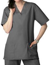 Pewter V Neck Top Drawstring Pants Xs Unisex Medical Uniforms 2 Piece Scrub Set