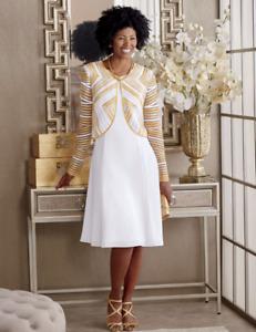 Marquita Jacket Dress Ashro Formal Holiday Church White Gold 8 10 12 14 16