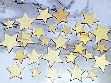 Wholesale Mixed Sizes Natural Wood Blanched Almond Star Cabochon's 10pcs. New