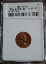 1956 D/D/S ERROR 1 Cent Lincoln 1ST GEN ANACS GRADED MS65 RD Lovely Red Example