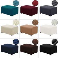 Polar Fleece Fabric Square Ottoman Cover Footstool Protector Stretch Slipcover