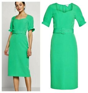 ex Warehouse Bold Green Belted Sweetheart Pencil Retro 50's Dress