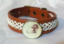 Horse Snap & Leather twine stitching Bracelet 18-20Mm Running Stallion Bubbles!