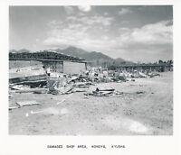 1945 WWII Kanoya Airfield USMC Marine Photo shop area wrecked Japanese airplanes