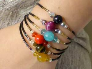 Handmade bracelets with semi-precious stones and steel, they fit any hand