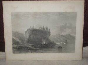 ANTIQUE ENGRAVING TOWER ROCK ON THE MISSISSIPPI UNITED STATES RIVER 8/16