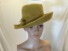 Vintage Boho Fedora Hat Church Hat Merrimac Merri Soie Coronet Exclusive Yellow