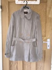 "Reiss Grey Cotton Mac Belted Jacket Size S AtoA18"" L28"" *C1"