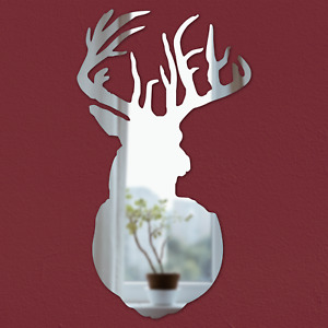 Stag Head Mirror New Rustic Design Silver Acrylic Mantlepiece Wall Decoration
