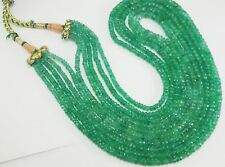 """350 ct+ 5 Strand Natural Emerald Full Cut Stone Beads 20"""" Necklace Free Shipping"""