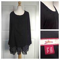 Ladies Joe Browns Quirky Long Top / Tunic Dress Size -14 Black Layered Dotty
