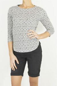 Womens White Stuff Top Black & White Jersey Geometric Tee 3/4 Sleeves Round Neck