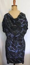 COUNTRY ROAD ~ Teal Blue Purple Watercolour Silk Shift Dress w Cowl Neckline 10