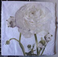 """Lot 3 serviettes en papier """"Rose blanche vintage"""" (Paper Napkins)"""