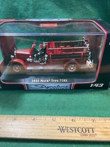 1935 Mack Type 75BX Fire Engine Red 1/43 Diecast Model Car Signature (KJT72)