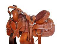 WESTERN TRAIL SADDLE 15 16 17 18 PLEASURE HORSE FLORAL TOOLED LEATHER TACK SET