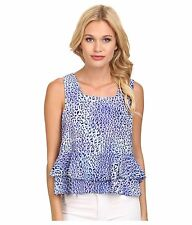 NWT REBECCA TAYLOR Size 2 Silk Leo Fever Sleeveless Crop Top $275
