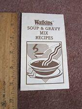Watkins Collectible Soup Mixes Spices Recipe Brochure Sheet Gravy
