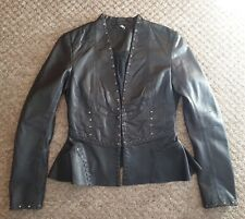 TOPSHOP BLACK PEPLUM SUPER SOFT REAL LEATHER JACKET EMBELLISHED STUDS SIZE 10