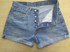 "+ VINTAGE + LEVI 508 BLUE DENIM SHORTS SIZE 8/10 W28"" HIGH WAIST/CUT OFF"