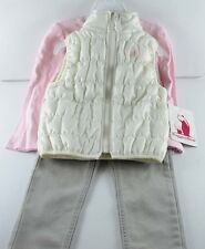 Toddler Girl SET White Pink Vest Jacket Top Shirt Denim Pants Jeans set Size 2T