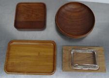 mid century design 60s - Scadinavian Teak Schale Tablett Butterdose 4 Teile 60er