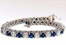 14.35ct natural Vivid royal blue round sapphires diamond bracelet 14kt tennis+