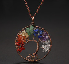 7 Chakra Natural Gemstone Balance Tree of Life Pendant Healing Energy Necklace