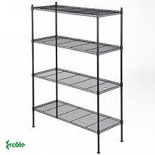 "4 Tier 55""x36""x14 Kitchen Storage Shelving Steel Wire Adjustable Black Shelves"