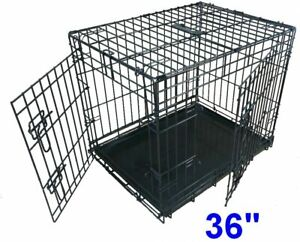 Dog Puppy Cage Folding 2 Door Crate With Metal Tray Large Non Chew Black