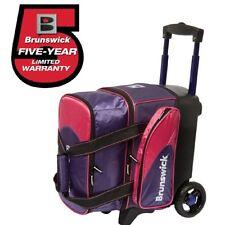 """Brunswick Flash 1 Ball Roller Bowling Bag Wheels Purple/Pink Handle Extends 39"""""""
