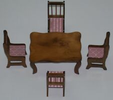 "Dollhouse Miniature Dining Table & 4 Chairs ~ 2.25"" H x 4"" W x 2.75"" D"