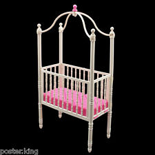 White Nursery Crib Bed Canopy 1/6 Barbie Kelly Doll's House Dollhouse Furniture