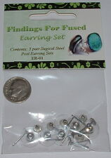 Ear Stud With Clutch SURGICAL STEEL FINDINGS FOR FUSED Earring Sets Glue-On