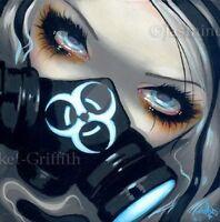Fairy Face 143 Jasmine Becket-Griffith SIGNED 6x6 PRINT gas mask nuclear faery