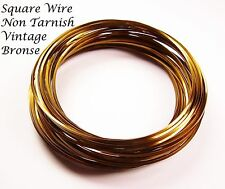 SQUARE WIRE 21GA ,21FT VINTAGE BRONZE  NON TARNISH PRO-QUALITY(BEAD SMITH)CRAFT